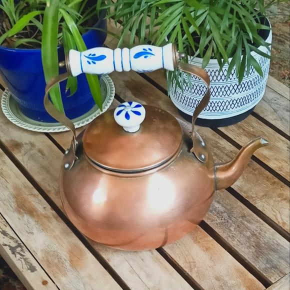 Antique vintage copper cottage tea kettle
